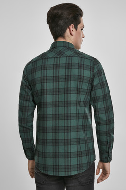 Рубашка URBAN CLASSICS Checked Flanell Shirt 7 Dark Green/Black фото 2
