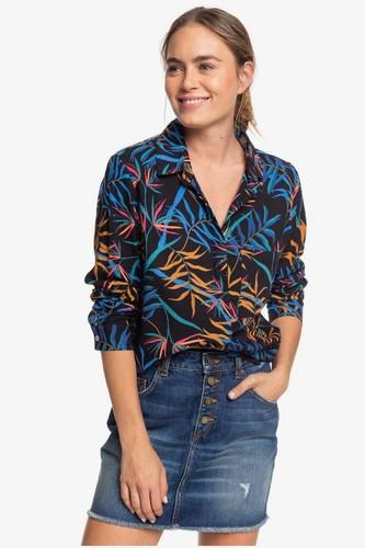 Женская рубашка с длинным рукавом ROXY Mess Is Mine ERJWT03387 (ANTHRACITE WILD LEAVES (kvj9), XS)