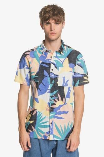 Мужская рубашка с коротким рукавом QUIKSILVER Tropical (SNOW WHITE TROPICAL FLO (wbk6), S)