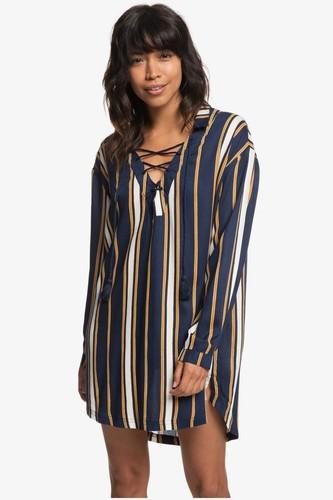 Платье-рубашка с длинным рукавом ROXY Lonely For You (MEDIEVAL BLUE MACY STRIPE SWIM (bte3), XS)