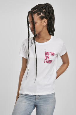 Футболка MISTER TEE Ladies Waiting For Friday Box Tee (женская) White/Pink