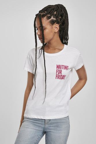 Футболка MISTER TEE Ladies Waiting For Friday Box Tee (женская) (White/Pink, L)