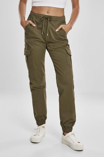 Брюки URBAN CLASSICS Ladies High Waist Cargo Jogging Pants (женские) (Summerolive, S)