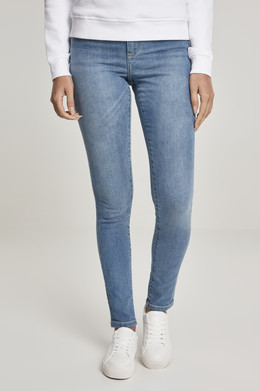 Джинсы URBAN CLASSICS Ladies High Waist Skinny Jeans (женские) Mid Stone Washed фото