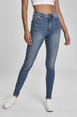 Джинсы URBAN CLASSICS Ladies High Waist Skinny Jeans (женские) Tinted Midblue Washed фото