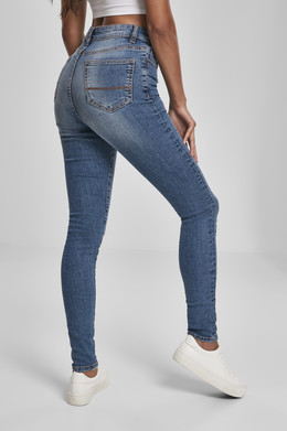 Джинсы URBAN CLASSICS Ladies High Waist Skinny Jeans (женские) Tinted Midblue Washed фото 2