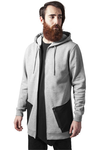 Толстовка URBAN CLASSICS Long Peached Tech Zip Hoody (Grey/Black, XL) ветровка urban classics arrow windrunner black limegreen xl