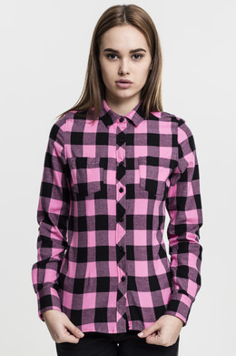 Рубашка URBAN CLASSICS Ladies Turnup Checked Flanell Shirt женская Black/Rose фото