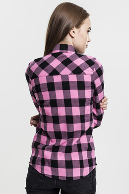Рубашка URBAN CLASSICS Ladies Turnup Checked Flanell Shirt женская Black/Rose фото 2