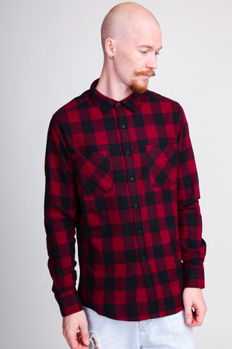 Рубашка URBAN CLASSICS Checked Flanell Shirt Black/Burgundy фото 7