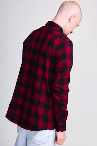 Рубашка URBAN CLASSICS Checked Flanell Shirt Black/Burgundy фото 8