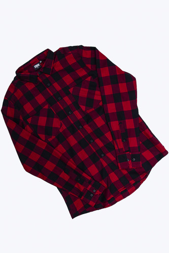 Рубашка URBAN CLASSICS Checked Flanell Shirt Black/Burgundy фото 10