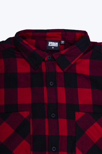 Рубашка URBAN CLASSICS Checked Flanell Shirt Black/Burgundy фото 11