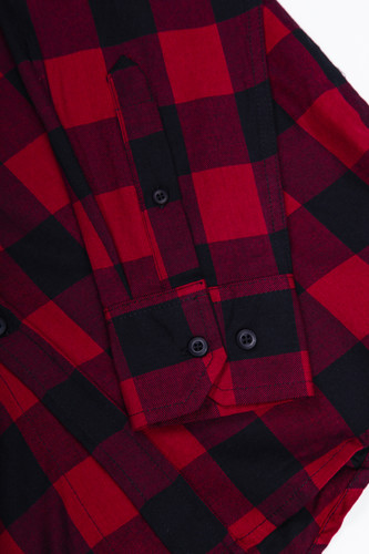 Рубашка URBAN CLASSICS Checked Flanell Shirt Black/Burgundy фото 12