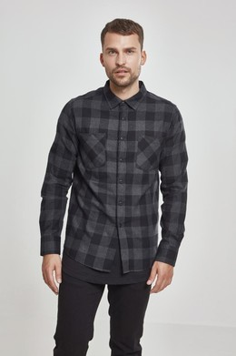 Рубашка URBAN CLASSICS Checked Flanell Shirt Black/Charcoal