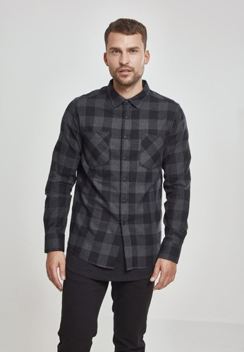 Рубашка URBAN CLASSICS Checked Flanell Shirt Black/Charcoal фото 5