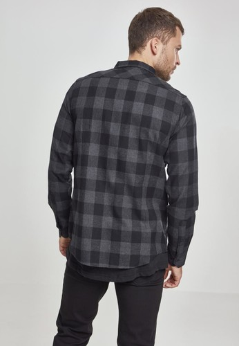 Рубашка URBAN CLASSICS Checked Flanell Shirt Black/Charcoal фото 6