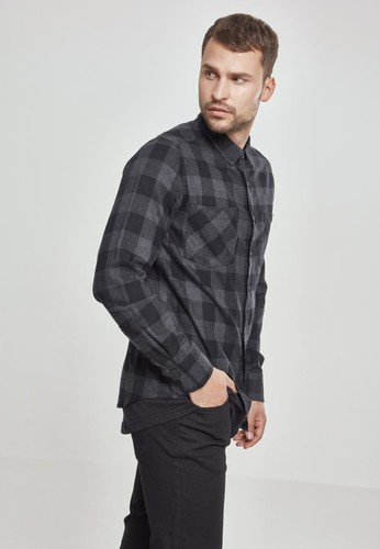 Рубашка URBAN CLASSICS Checked Flanell Shirt Black/Charcoal фото 7