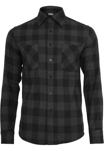 Рубашка URBAN CLASSICS Checked Flanell Shirt Black/Charcoal фото 8