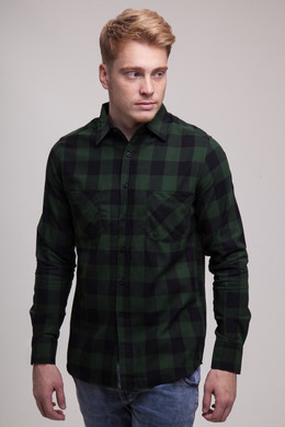 Рубашка URBAN CLASSICS Checked Flanell Shirt Black/Forest фото