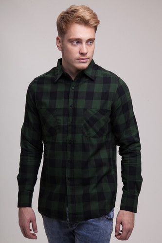 Рубашка URBAN CLASSICS Checked Flanell Shirt Black/Forest фото 3