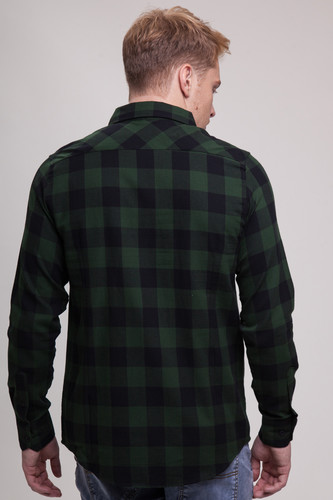 Рубашка URBAN CLASSICS Checked Flanell Shirt Black/Forest фото 4