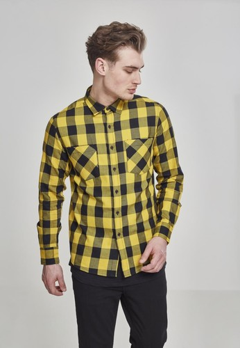 Рубашка URBAN CLASSICS Checked Flanell Shirt Black/Honey фото 3