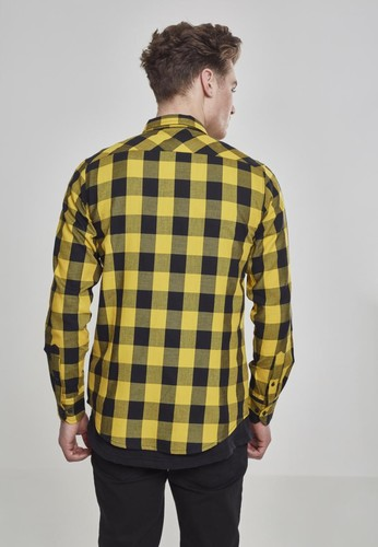 Рубашка URBAN CLASSICS Checked Flanell Shirt Black/Honey фото 4