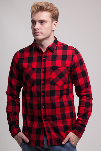 Рубашка URBAN CLASSICS Checked Flanell Shirt Black/Red фото 7
