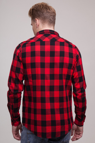 Рубашка URBAN CLASSICS Checked Flanell Shirt Black/Red фото 8