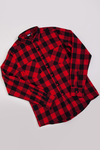 Рубашка URBAN CLASSICS Checked Flanell Shirt Black/Red фото 9