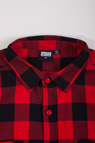 Рубашка URBAN CLASSICS Checked Flanell Shirt Black/Red фото 10