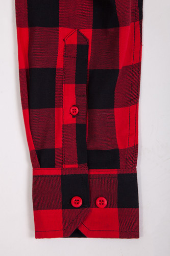 Рубашка URBAN CLASSICS Checked Flanell Shirt Black/Red фото 12