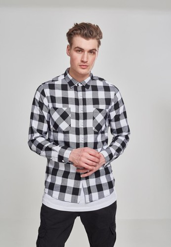 Рубашка URBAN CLASSICS Checked Flanell Shirt Black/White фото 6