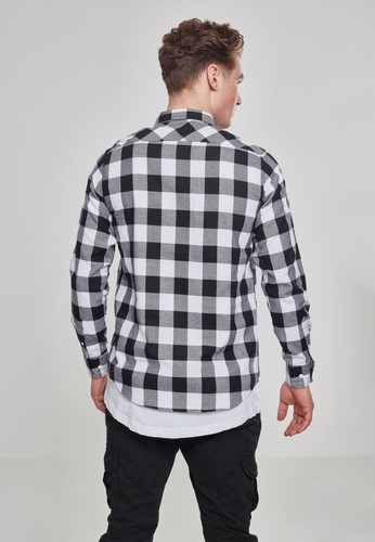 Рубашка URBAN CLASSICS Checked Flanell Shirt Black/White фото 7