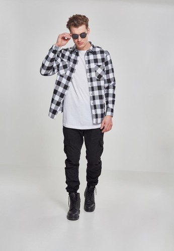 Рубашка URBAN CLASSICS Checked Flanell Shirt Black/White фото 8