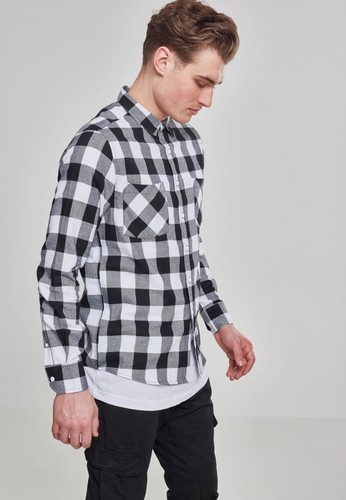 Рубашка URBAN CLASSICS Checked Flanell Shirt Black/White фото 9