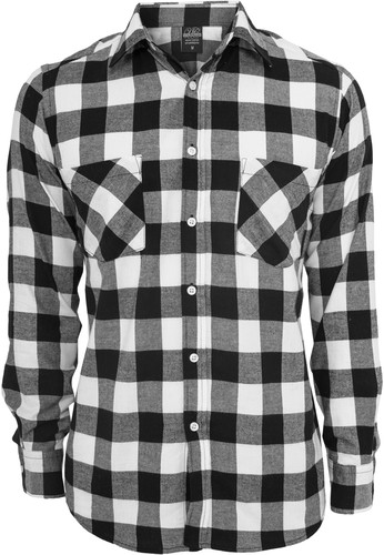 Рубашка URBAN CLASSICS Checked Flanell Shirt Black/White фото 10