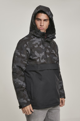 Куртка URBAN CLASSICS Camo Mix Pull Over Jacket Black/Dark Camo фото