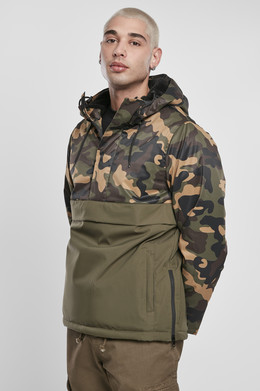 Куртка URBAN CLASSICS Camo Mix Pull Over Jacket Olive/Wood Camo фото
