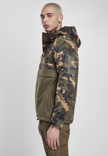 Куртка URBAN CLASSICS Camo Mix Pull Over Jacket Olive/Wood Camo фото 7