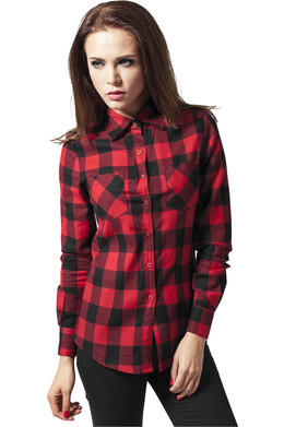 Рубашка URBAN CLASSICS Ladies Checked Flanell Shirt Black/Red фото