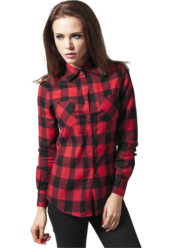Рубашка URBAN CLASSICS Ladies Checked Flanell Shirt Black/Red фото 5