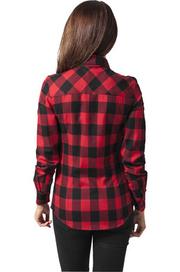 Рубашка URBAN CLASSICS Ladies Checked Flanell Shirt Black/Red фото 2