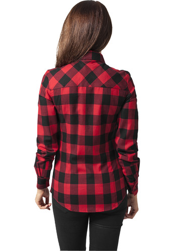 Рубашка URBAN CLASSICS Ladies Checked Flanell Shirt Black/Red фото 6