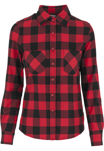 Рубашка URBAN CLASSICS Ladies Checked Flanell Shirt Black/Red фото 8