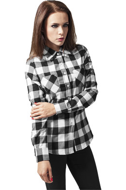 Рубашка URBAN CLASSICS Ladies Checked Flanell Shirt Black/White фото