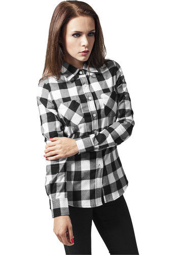 Рубашка URBAN CLASSICS Ladies Checked Flanell Shirt Black/White фото 4
