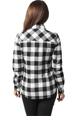 Рубашка URBAN CLASSICS Ladies Checked Flanell Shirt Black/White фото 2