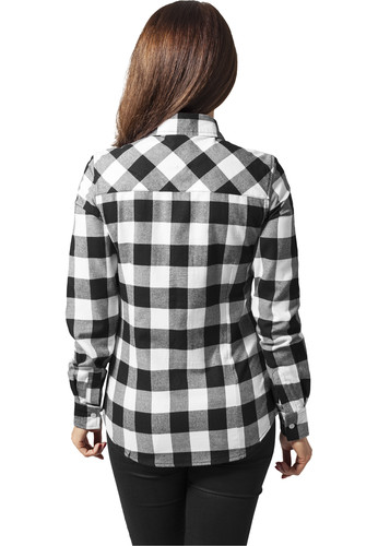 Рубашка URBAN CLASSICS Ladies Checked Flanell Shirt Black/White фото 5